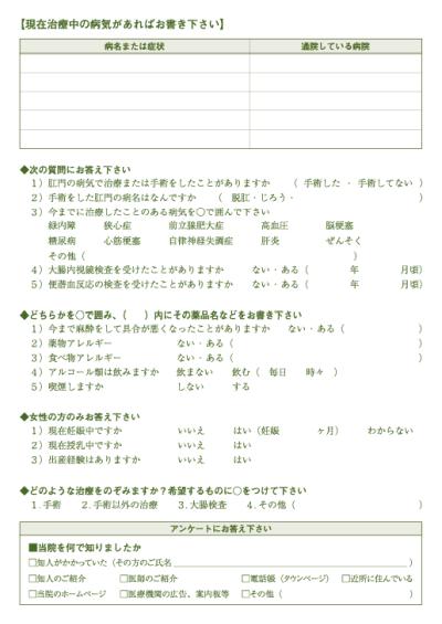 問診票サンプル 2